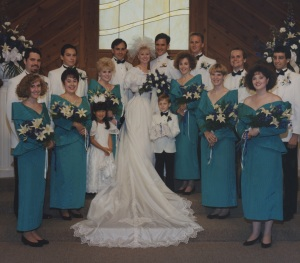 Picture of us, our bridesmaids and groomsmen, flower girl and ring boy
