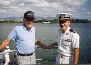 Dad and me in Pearl Harbor as we pull out of Port for the last leg of the trip home...