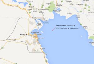 Showing approximate location of Princeton mine strike relative to Kuwaiti/Iraq Coastline