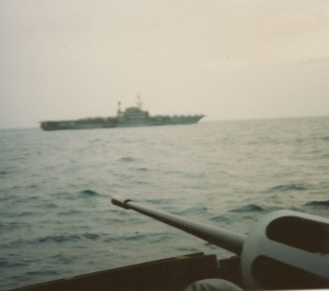 Steaming near USS Midway (CV 41)