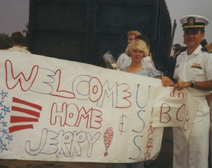 Welcome home sign for me and my Dad who joined me for the last leg of the cruise from Pearl Harbor back to Long Beach...