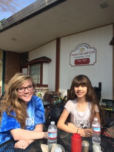 Elowyn and Gigi at a Bike Ride Pit Stop in Old Town Clovis