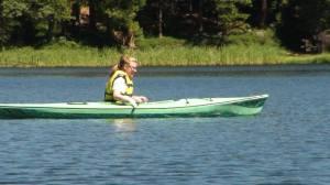 Elowyn canoeing on the lake
