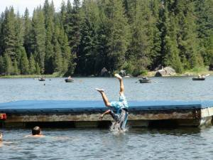 Jumping into the lake from the swim platform