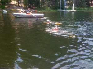 One of the campers doing the Lake Swim