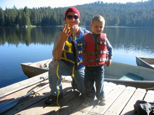 Mike with his on Jak after they caught their first fish together, a very special moment