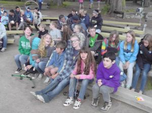 Our kids getting ready for campfire