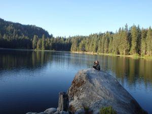 Elowyn on Indian Rock looking toward Camp Sequoia