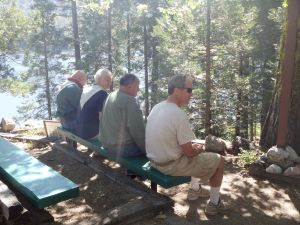 Our most honorable stewards of Lake Sequoia at chapel:  From Left:  Russ Sudyam, Jan Sudyam, Gary Potter and Phil Dixon