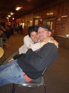 Mike and his wife Teree snuggling in the Dining Hall