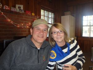 Leah and me in the Dining Hall.  Leah is wearing her blue ragger bandana
