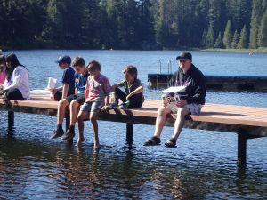 Mike and his sons getting their boats ready for the Popsicle Regatta race