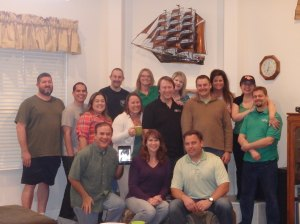 Growth Group Picture in April '14 Left to right standing: Grady, Dustin, Kat, Jason, Stacy, Leah, Jeff, Holly, Joe, Camille, Jenn, Matt Left to right kneeling: Jerry, Laurie (on iPad), Julia, Chris