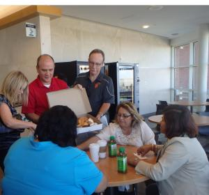 Leah, me and Doug handing out donut to those at the CRMC ICU Waiting Room on Molly Day. Molly's friend, Emily, spent several weeks in this ICU in recovery from the accident