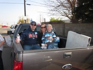 Jason, Stacy and Zach at Morning with the Homeless near the Fresno Rescue Mission