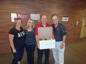 Stacy, Leah, me and Doug with the donuts we brought to share with those in the ICU Waiting Room