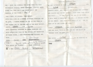 This is page 1 of our Wedding Ceremony Outline that Bufe Karraker officiated